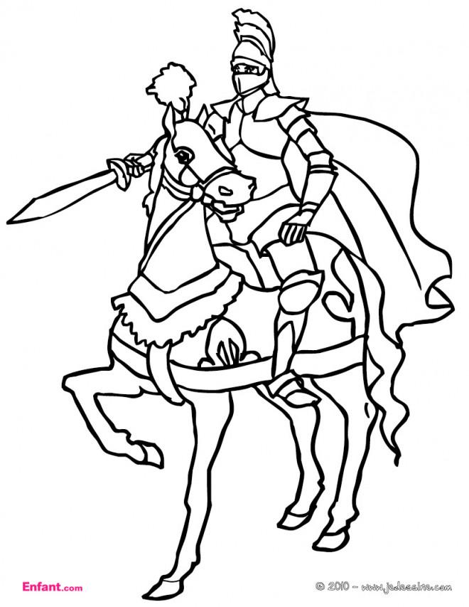 Coloriage et dessins gratuits Cheval et son chevalier à imprimer
