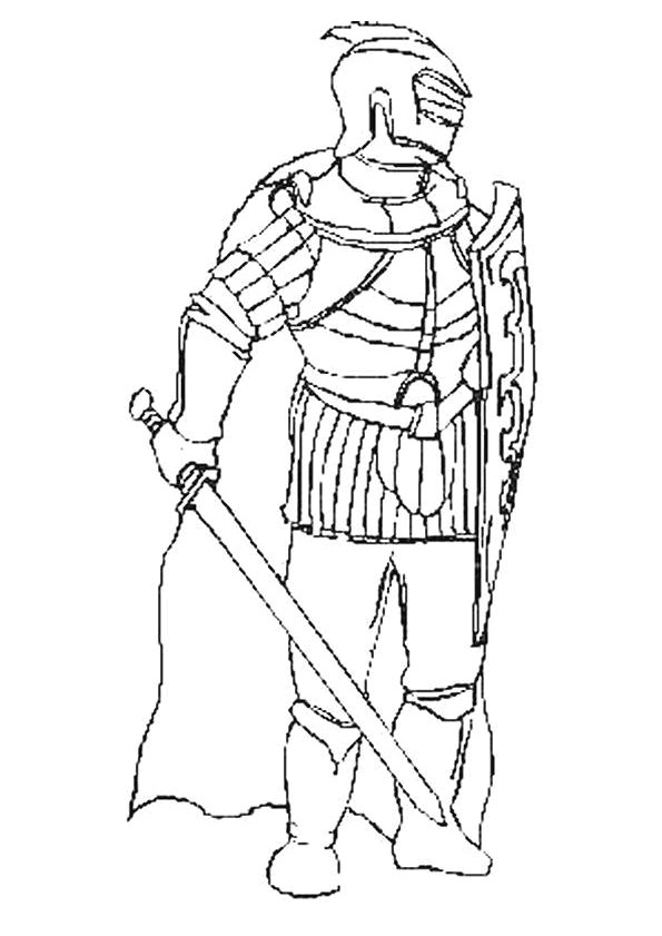 Coloriage chevalier avec une p e dessin gratuit imprimer - Dessin anime chevalier de la table ronde ...