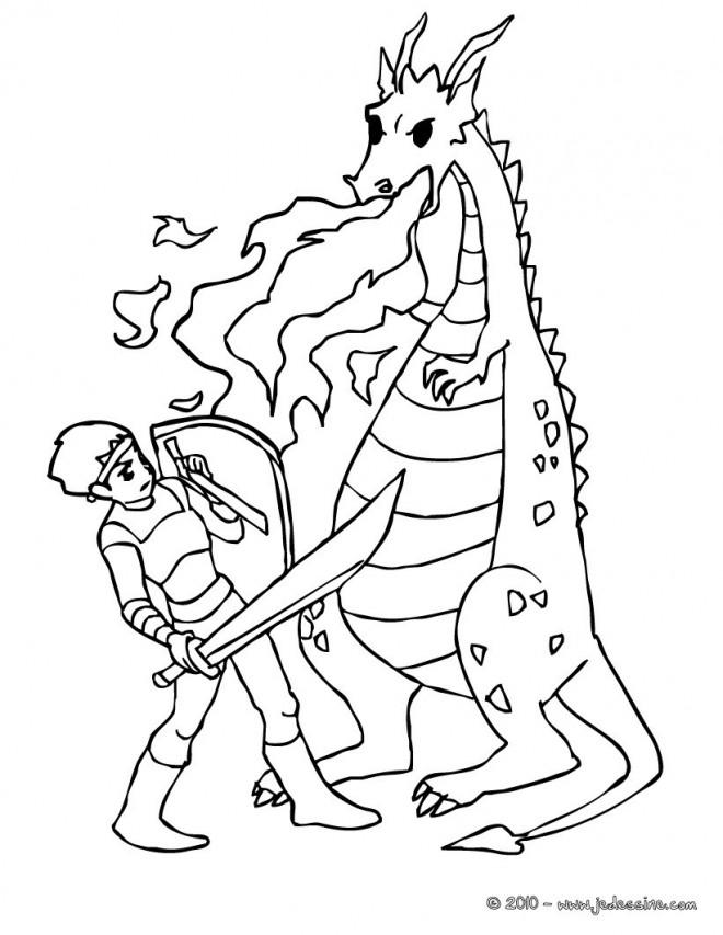Coloriage chevalier contre le dragon dessin gratuit imprimer - Dessin chevalier ...