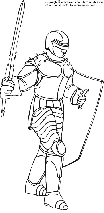 Coloriage et dessins gratuits Chevalier de moyen âge bien équipé à imprimer