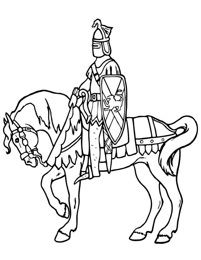 Coloriage et dessins gratuits Chevalier du Royaume britannique sur son cheval à imprimer