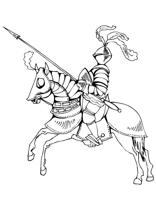 Coloriage et dessins gratuits Chevalier en armure à imprimer