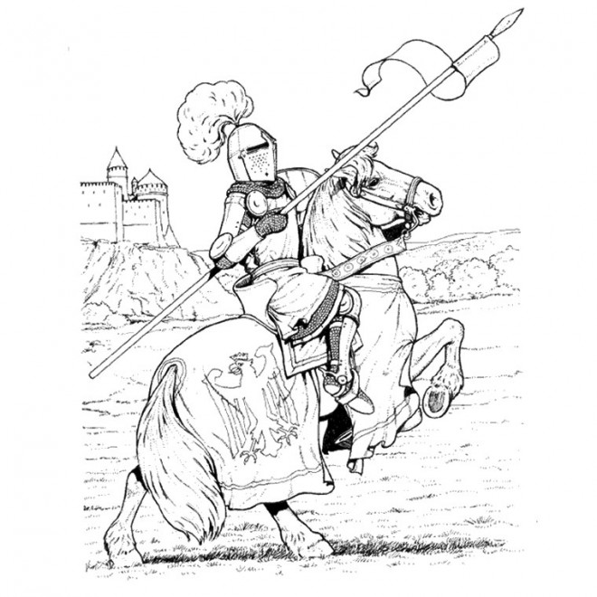 Coloriage chevalier en armure dessin couleur dessin gratuit imprimer - Dessin anime chevalier de la table ronde ...