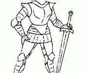 Coloriage et dessins gratuit Chevalier en armure facile à imprimer