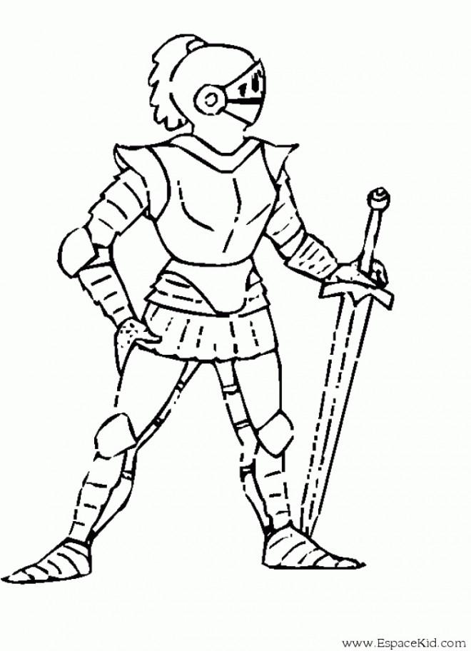 Coloriage chevalier en armure facile dessin gratuit imprimer - Dessin chevalier ...