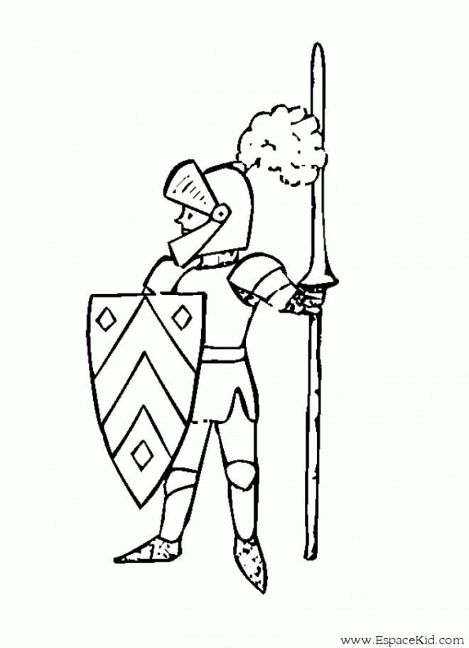 Coloriage chevalier en garde dessin gratuit imprimer - Dessin moyen age ...
