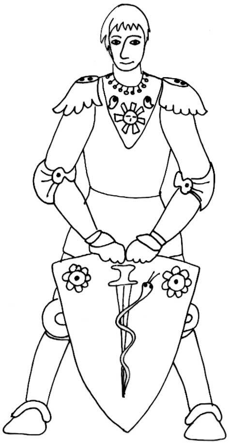 Coloriage chevalier et bouclier dessin gratuit imprimer - Image du moyen age a imprimer ...