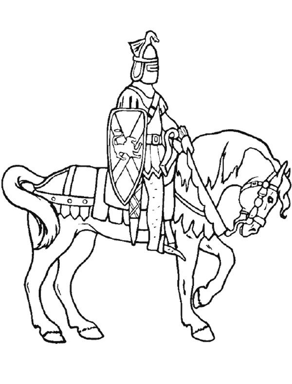 Coloriage et dessins gratuits Chevalier et cheval élégant à imprimer