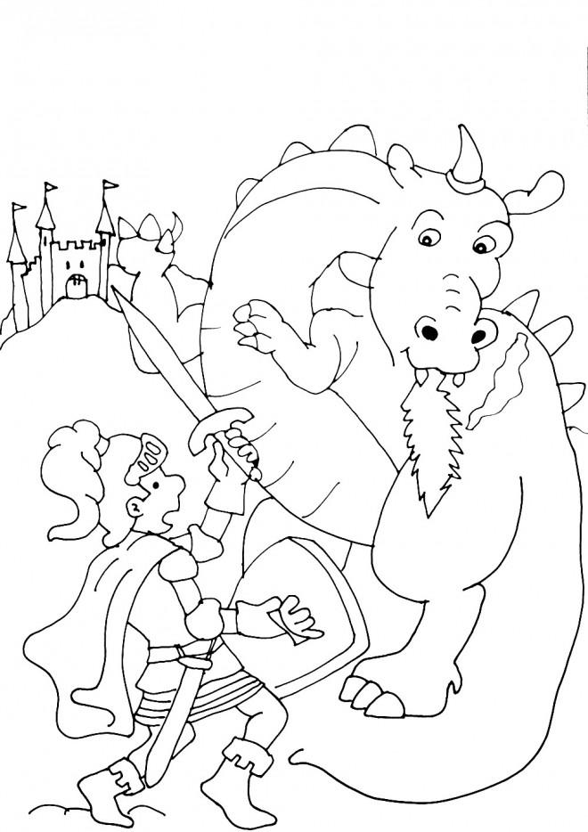 Coloriage et dessins gratuits Chevalier et Dragon devant le château à imprimer