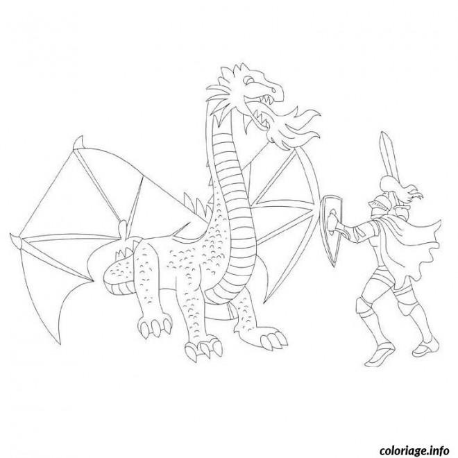 Coloriage et dessins gratuits Chevalier et Dragon se combattent à imprimer