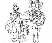 Coloriage et dessins gratuit Chevalier et princesse à imprimer