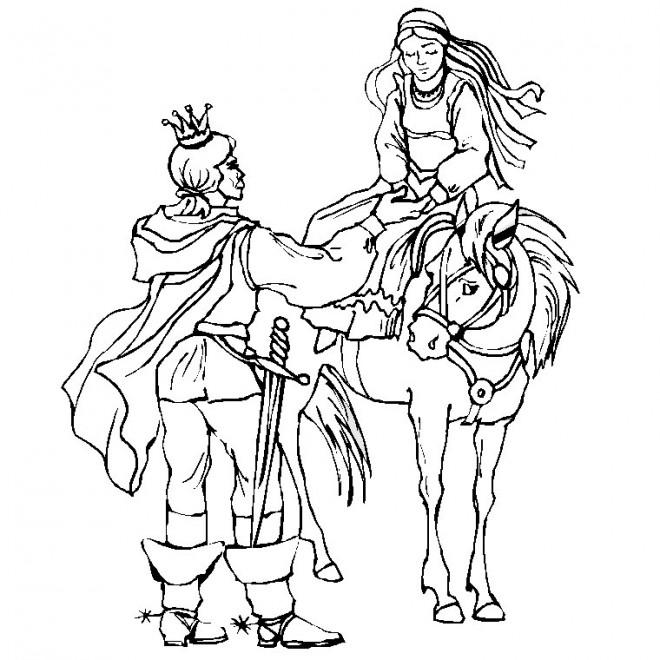 Coloriage et dessins gratuits Chevalier et princesse à imprimer