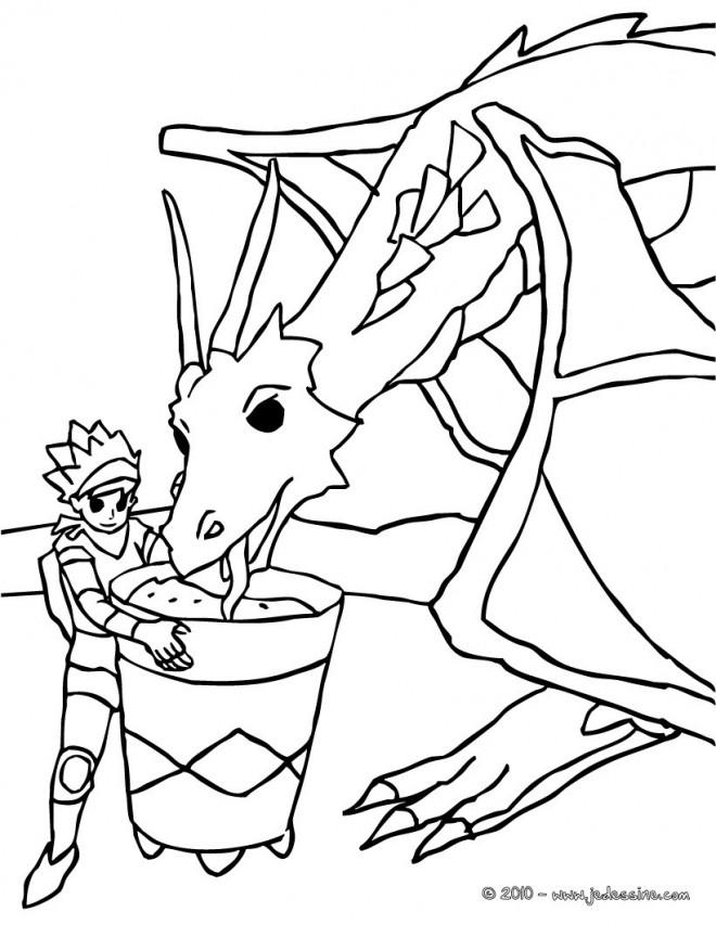 Coloriage et dessins gratuits Chevalier et son dragon à imprimer