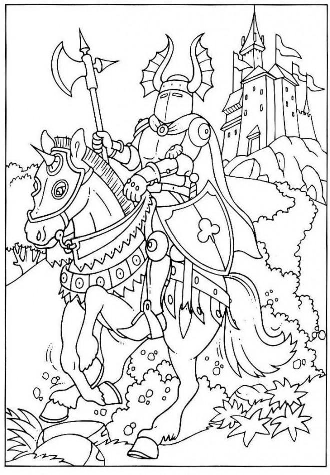 Coloriage chevalier et son cu dessin gratuit imprimer - Dessin anime chevalier de la table ronde ...