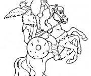 Coloriage Chevalier guerrier sur le cheval