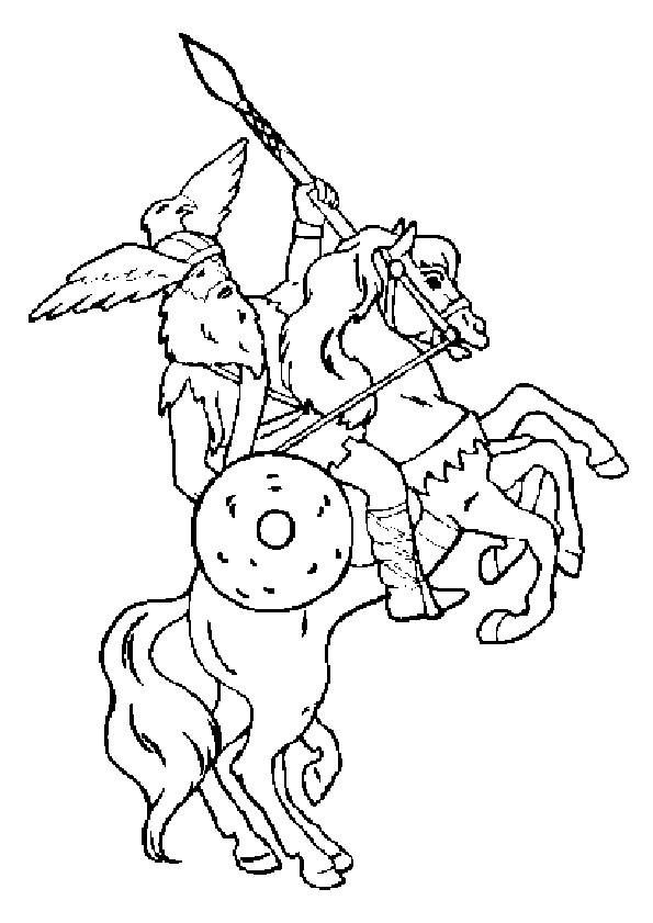 Coloriage et dessins gratuits Chevalier guerrier sur le cheval à imprimer