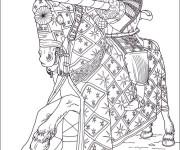Coloriage Chevalier pendant le tournoi de château-fort
