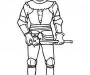 Coloriage Chevalier portant Fléau Médiéval