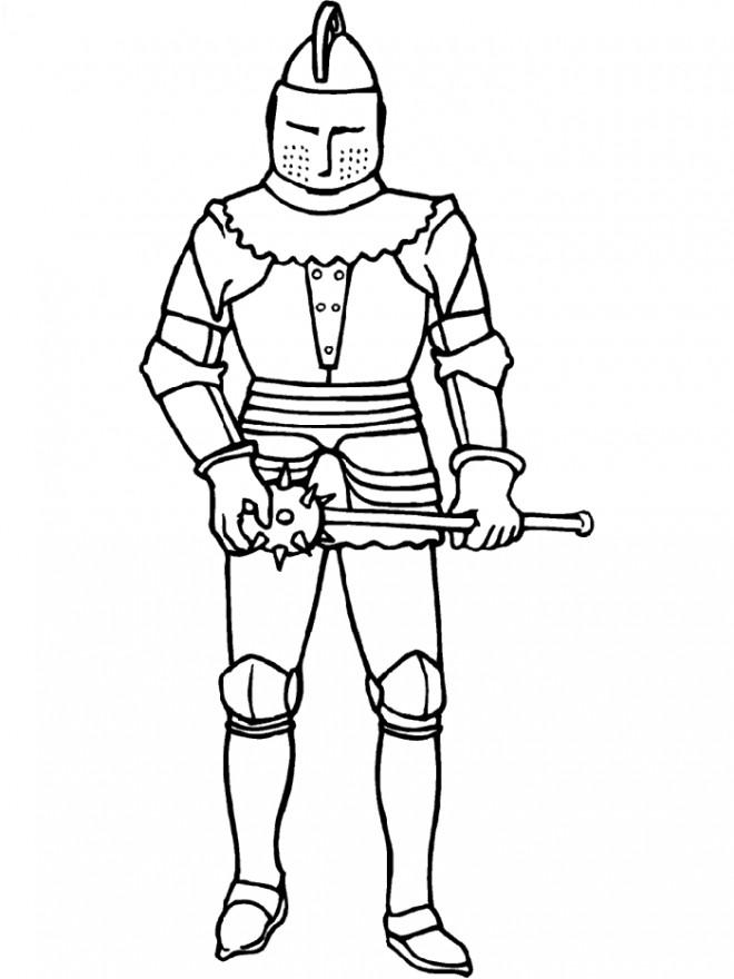 Coloriage et dessins gratuits Chevalier portant Fléau Médiéval à imprimer