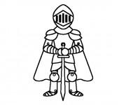 Coloriage Chevalier portant l'épée de deux mains