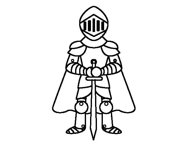 Coloriage et dessins gratuits Chevalier portant l'épée de deux mains à imprimer