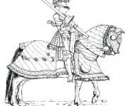 Coloriage Chevalier portant son armes sur ses épaules