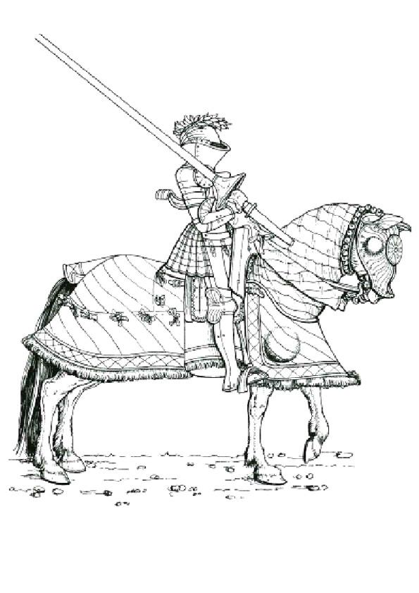 Coloriage et dessins gratuits Chevalier portant son armes sur ses épaules à imprimer