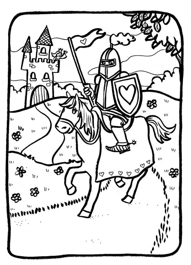 Coloriage chevalier qui quitte le ch teau dessin gratuit imprimer - Image de chateau a imprimer ...