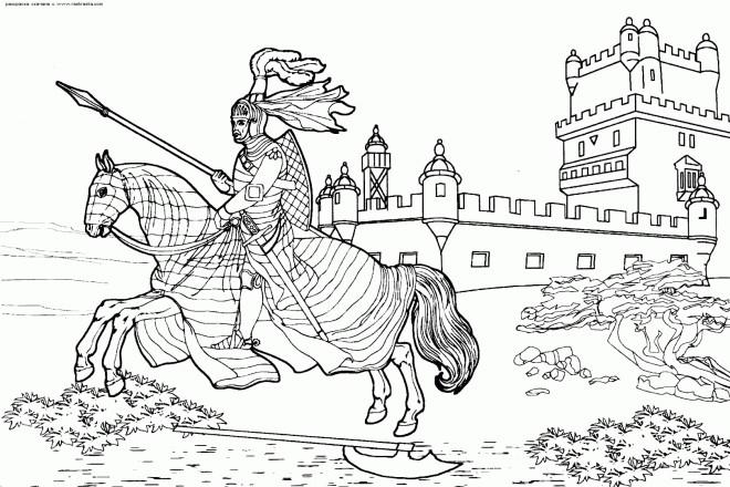 Coloriage et dessins gratuits Chevalier quittant son château à imprimer
