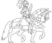 Coloriage et dessins gratuit Chevalier sur son cheval à imprimer