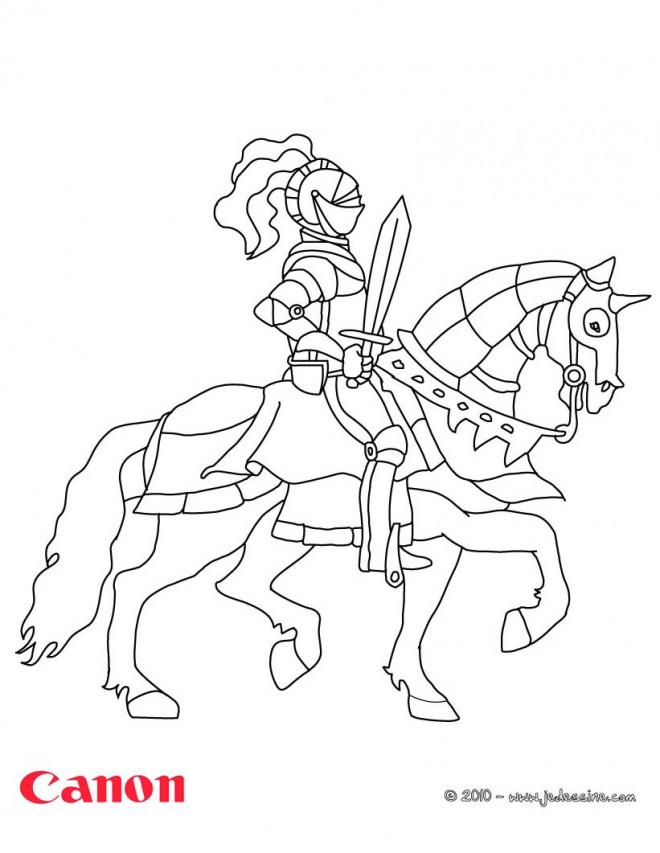 Coloriage chevalier sur son cheval dessin gratuit imprimer - Dessin chevalier ...