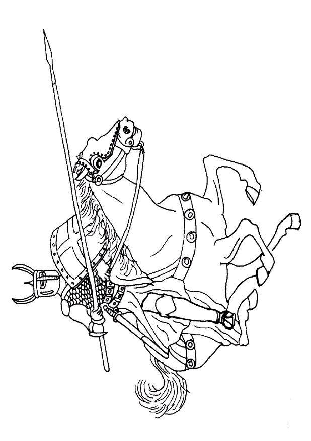 Coloriage et dessins gratuits Chevalier sur son dragon à imprimer