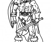 Coloriage Chevalier Viking et armes