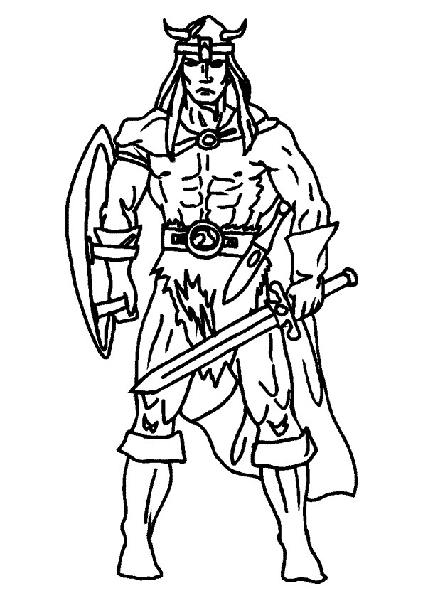 Coloriage chevalier viking et armes dessin gratuit imprimer - Dessin de viking ...