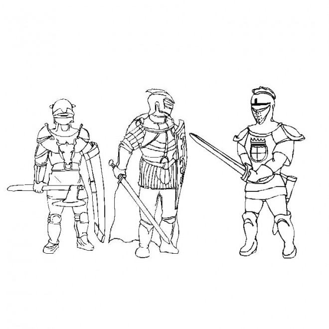Coloriage chevaliers de moyen ge en armure - Dessin moyen age ...