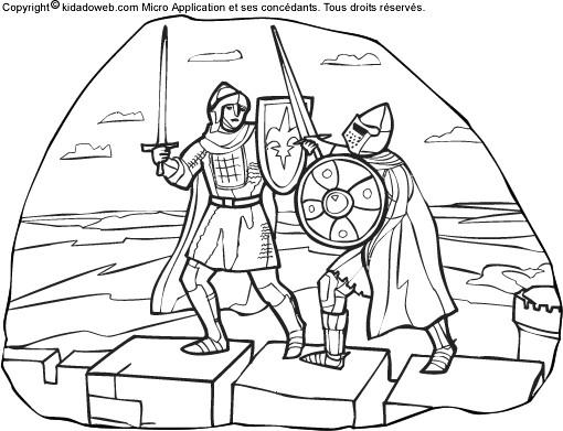 Coloriage chevaliers se combattent dessin gratuit imprimer - Image du moyen age a imprimer ...