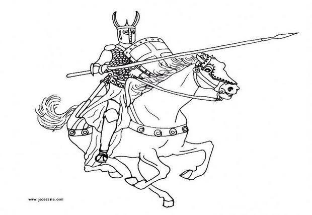 Coloriage Combat de chevaliers dessin gratuit à imprimer