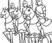 Coloriage Des chevalier sur leurs chevaux