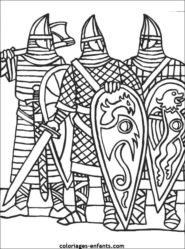 Coloriage Des Chevaliers de moyen âge dessin gratuit à imprimer