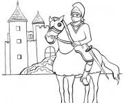 Coloriage Le Prince Chevalier et son château