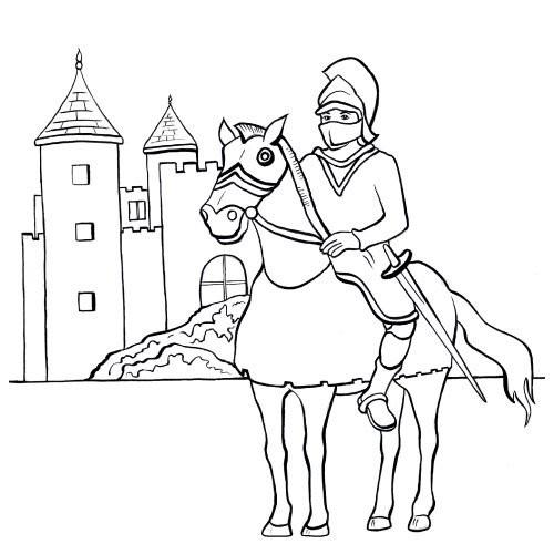 Coloriage et dessins gratuits Le Prince Chevalier et son château à imprimer