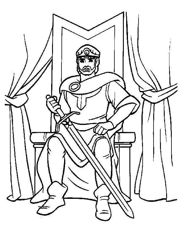 Coloriage et dessins gratuits Le Roi dans son château à imprimer