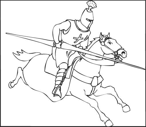 Coloriage tournoi des chevaliers dessin gratuit imprimer - Dessin moyen age ...