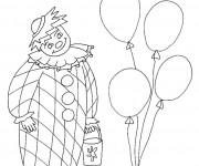 Coloriage Clown avec un seau dans la main