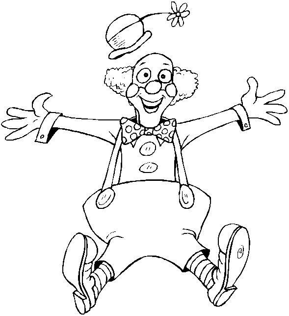 Coloriage Clown Saute Dans Les Airs Dessin Gratuit à Imprimer
