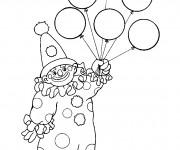 Coloriage et dessins gratuit Des ballons dans la main de clown à imprimer
