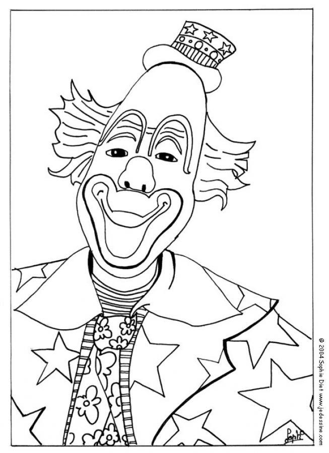Coloriage Le clown avec un petit chapeau dessin gratuit à imprimer