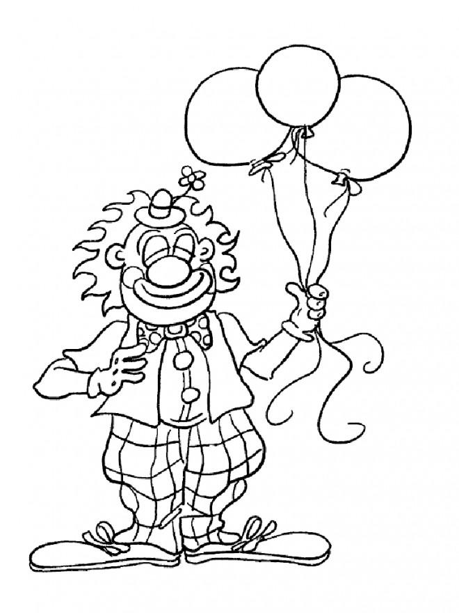Coloriage et dessins gratuits Le clown et des ballons à imprimer