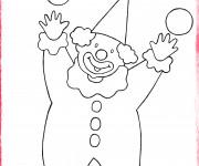 Coloriage Le clown et les quatres boules