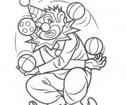 Coloriage Le clown jongle avec plusieurs boules